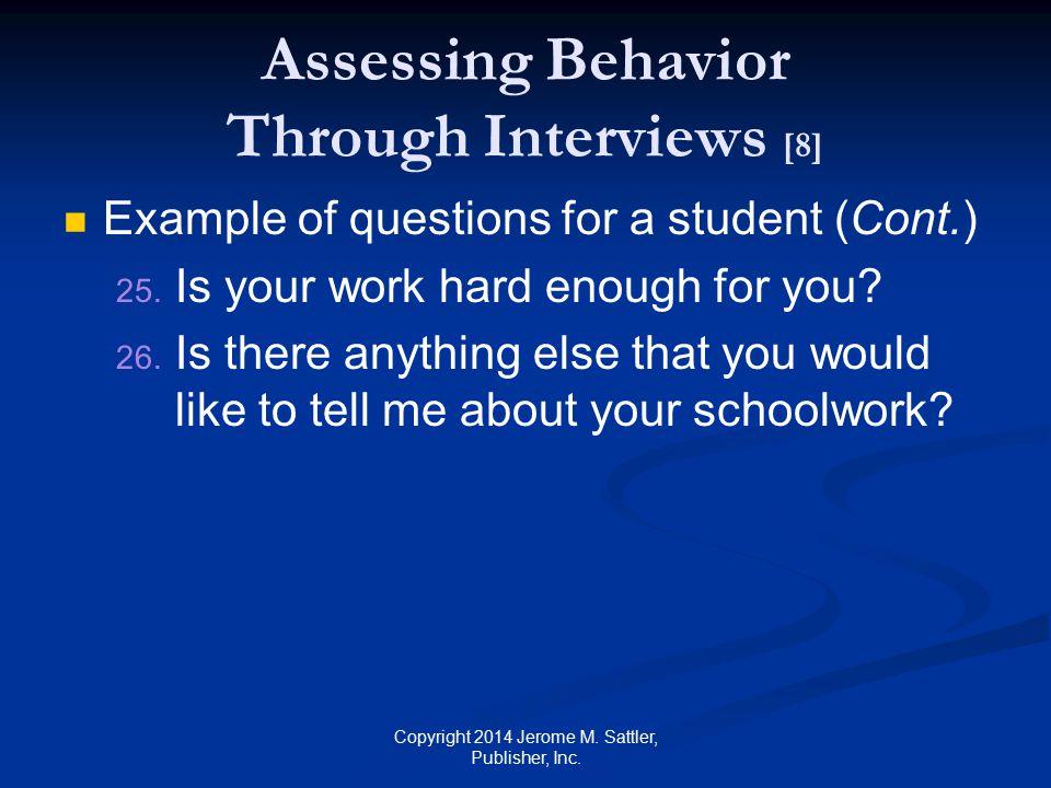 Assessing Behavior Through Interviews [8]